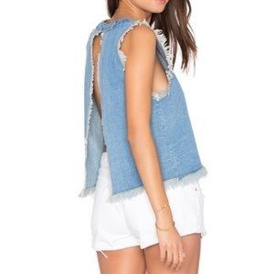 {J.O.A} Revolve Frayed Denim Tank